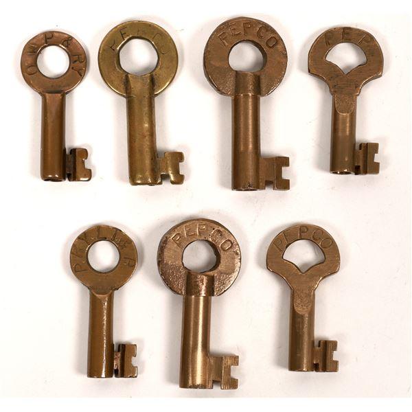 Railroad Lock Keys (7), different Oregon Electric & Power Co's  [138252]