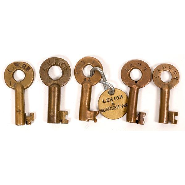 Railroad Lock Keys (5), Pennsylvania - Lehigh RR Lines  [138685]