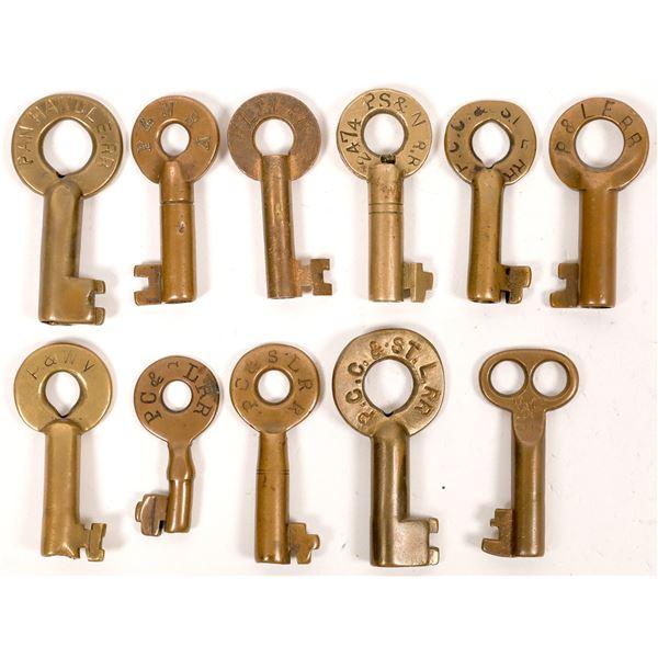 Railroad Lock Keys (11), Pennsylvania - Pittsburgh RR Lines  [138683]