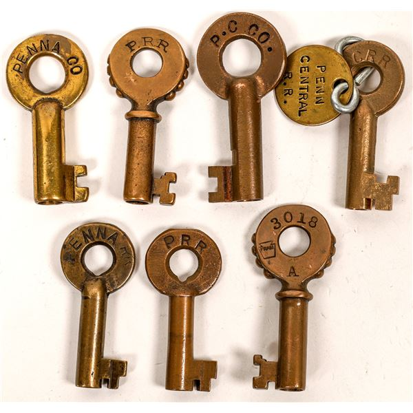 Railroad Lock Keys (7) from Penn Central & Penn RR Lines  [138633]