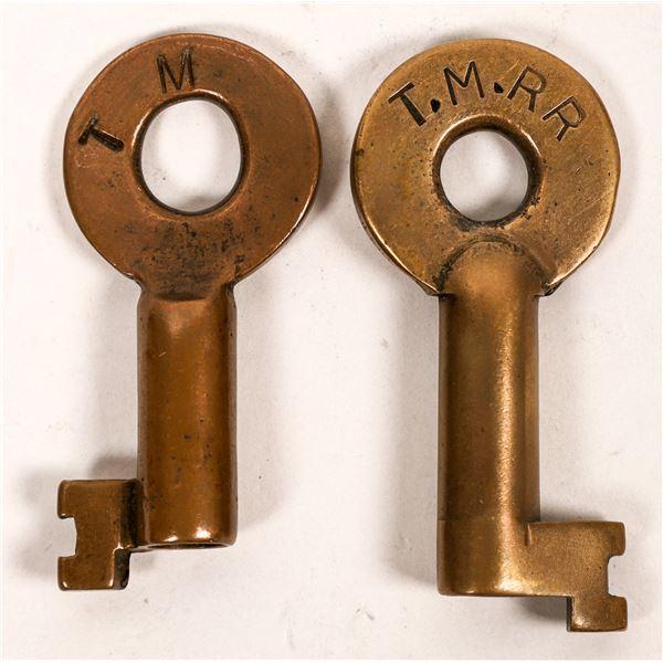 Railroad Lock Keys (2) from Texas-Mexican Railroad  [138248]