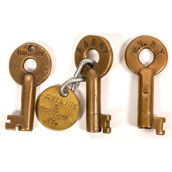 Railroad Lock Keys (3), different Texas RR Lines  [138243]