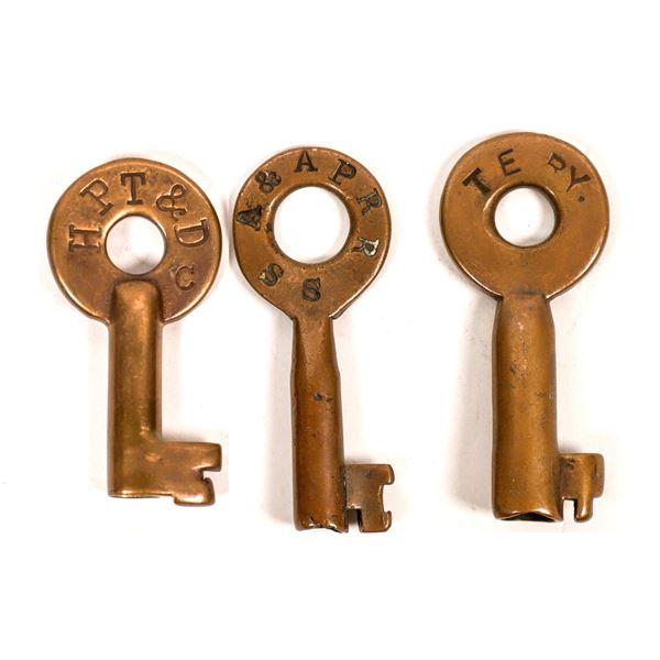 Railroad Lock Keys (3), different Texas RR Lines  [138247]
