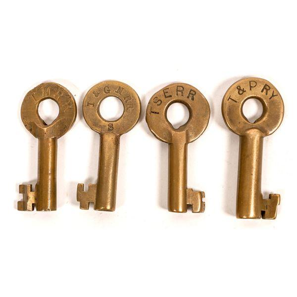 Railroad Lock Keys (4), different Texas RR Lines  [138244]