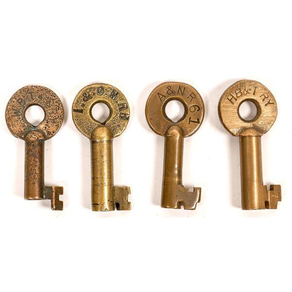 Railroad Lock Keys (4), different Texas RR Lines  [138245]
