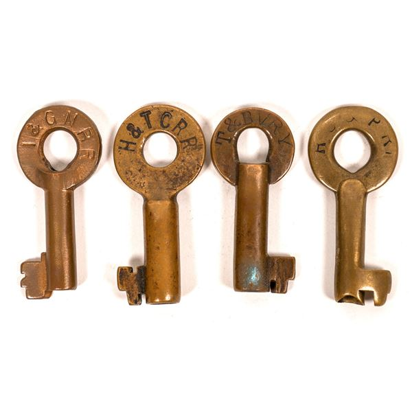Railroad Lock Keys (4), different Texas RR Lines  [138246]
