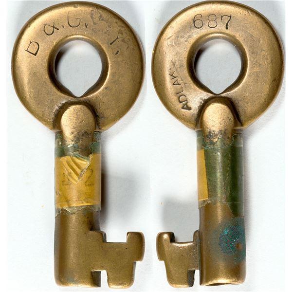 Railroad Lock Keys (2) from Bingham & Garfield RY (UT - Mining)  [138237]