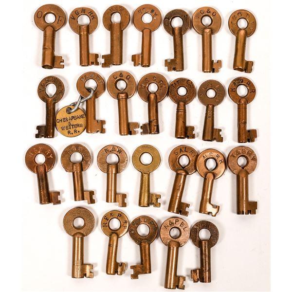 Railroad Lock Keys (26), Virginia & Wash DC RR Lines  [138689]