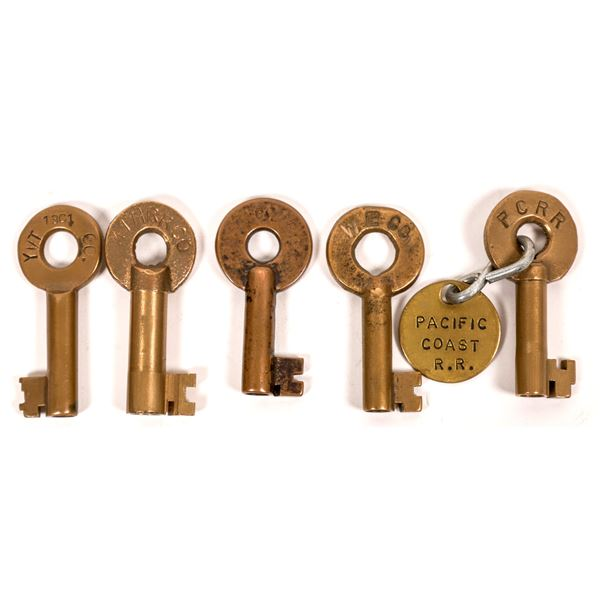 Railroad Lock Keys (5), different Washington RR Lines   [138242]