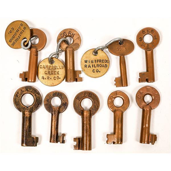 Railroad Lock Keys (9), various West Virginia RR Lines  [138690]