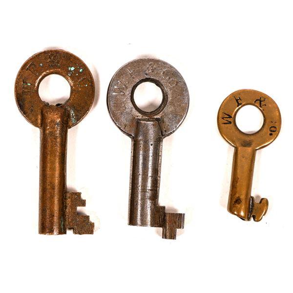 Railroad Lock Keys (3) from Wells Fargo & Co  [138232]