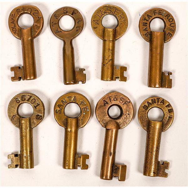 Railroad Lock Keys (8), Atchison Topeka & Santa Fe RR Lines  [138627]