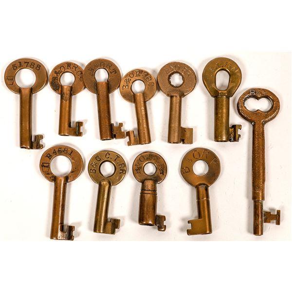 Railroad Lock Keys (11) w/Caboose Key, Baltimore & Ohio RR Lines  [138625]