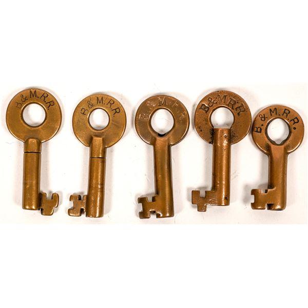 Railroad Lock Keys (5), Boston & Maine RR Lines  [138628]