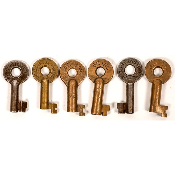 Railroad Lock Keys (6) from Burlington Northern RR Lines  [138629]