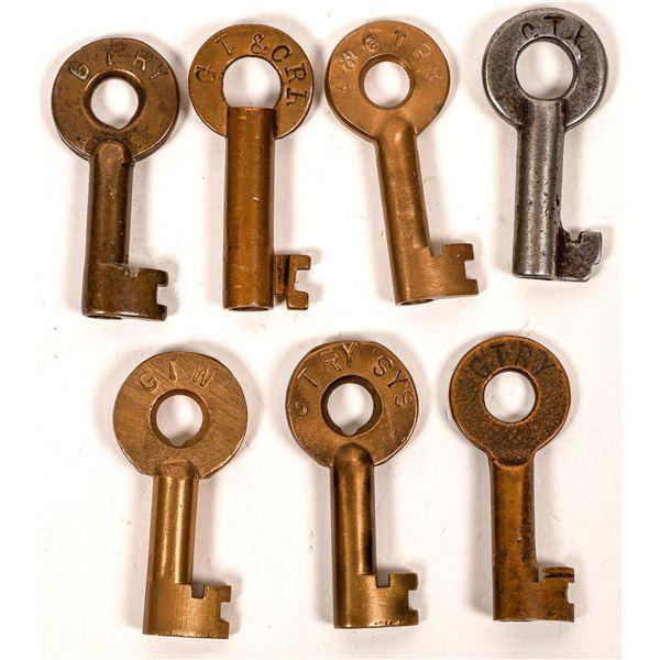 Railroad Lock Keys (7) from Grand Trunk RR Lines  [138630]