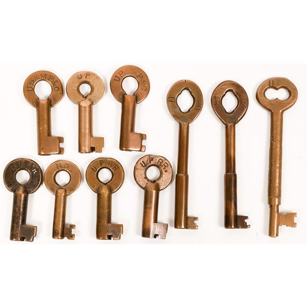 Railroad Lock Keys (10) w/Caboose & Diner Keys from Union Pacific RR Lines  [138624]