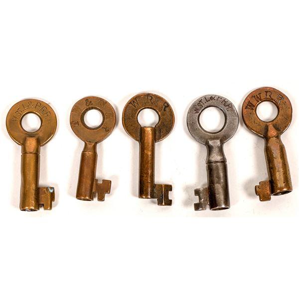 Railroad Lock Keys (5) for Wabash RR Lines  [138671]
