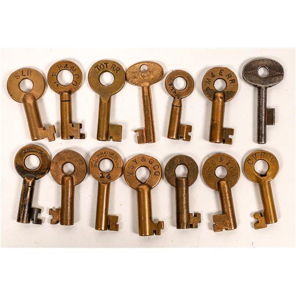 Railroad Lock Keys (14), most marked but RR lines unknown  [138622]