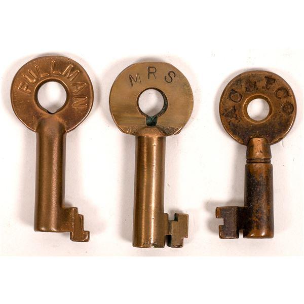 Railroad Lock Keys (3), different RR Car Companies  [138264]