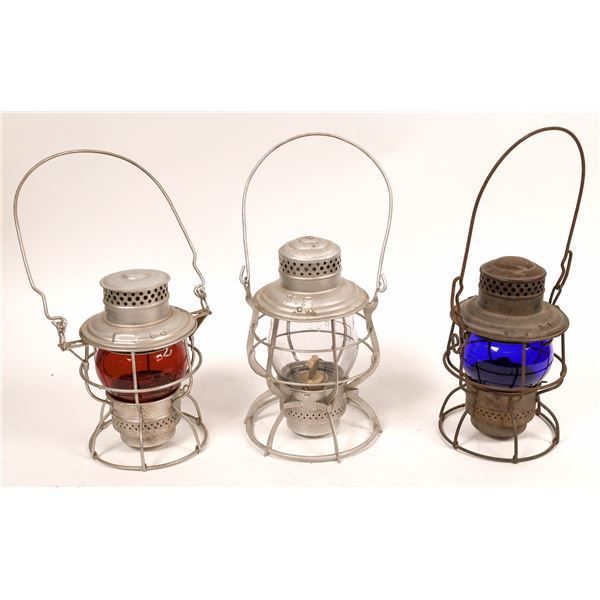 Adlake Conductor's Lanterns (3) in Red, Clear, & Blue  [138581]