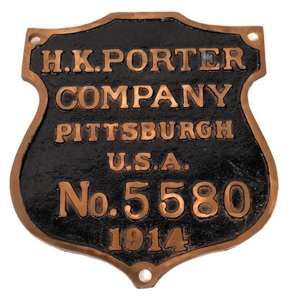 Locomotive Engine Plaque, Brass, H.K. Porter Co.  [140408]