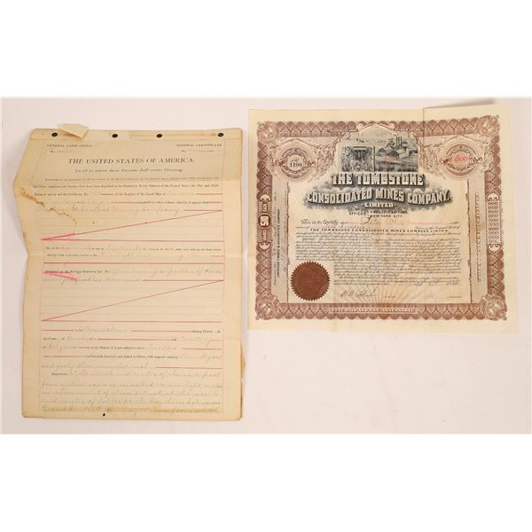 Grand Central Mine Original Patent Papers & Tombstone Bond  [136607]