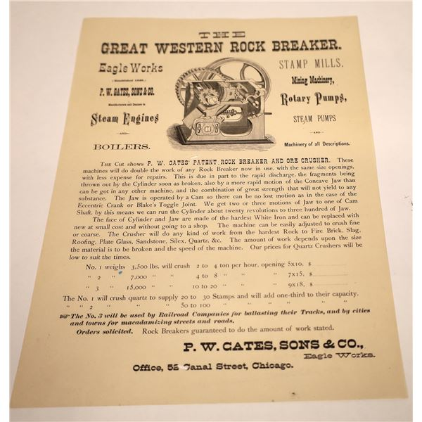 Mining Jaw Crusher Broadside, Chicago, c1890  [131017]