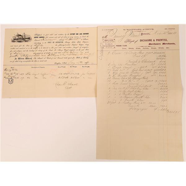 Detroit and Lake Superior Copper Company / Quincy Mine Ephemera  [130491]