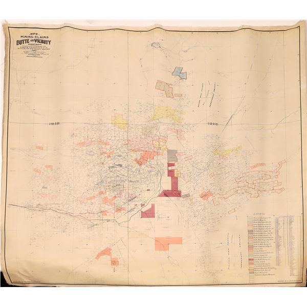 Map of Butte Mining Claims, Butte, Montana and Vicinity 1913  [139738]