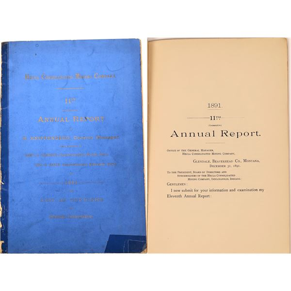Hecla Consolidated Mining Company Annual Report 1891  [140164]
