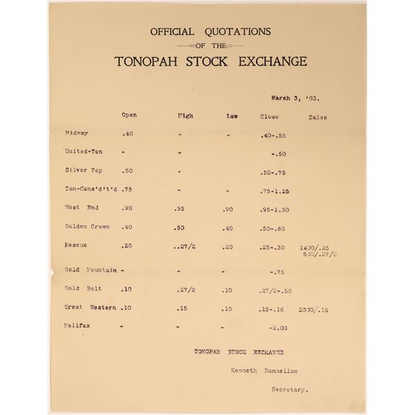 Official Quotations of the Tonopah Stock Exchange  [139973]