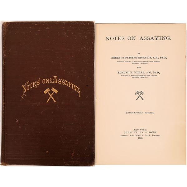 Notes On Assaying by Ricketts and Miller, Hardbound Book   [140731]