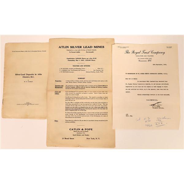 Three Interesting British Columbia Mining Related Pieces   [130463]