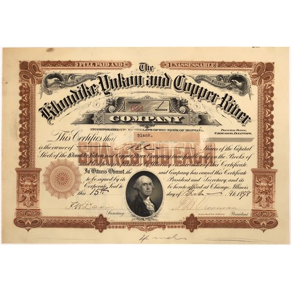 Klondike, Yukon & Copper River Stock Certificate  [128112]