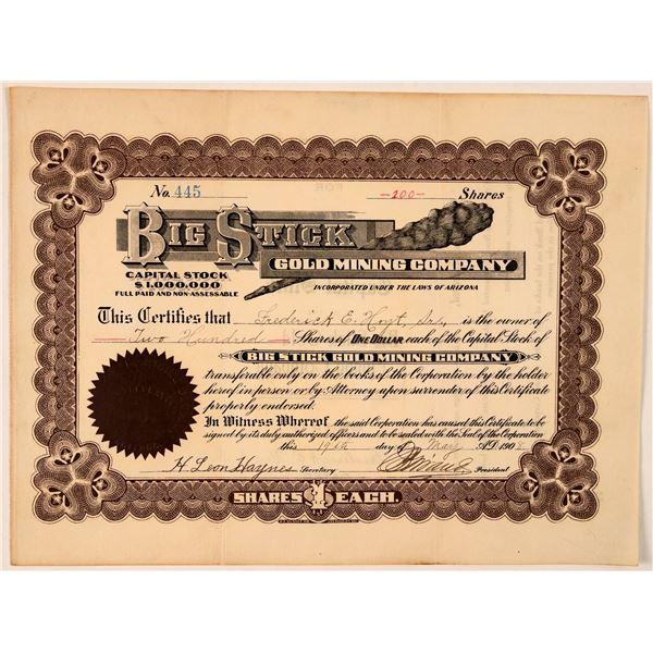 Big Stick Gold Mining Company Stock Certificate  [107740]