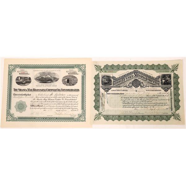 Arizona & California Incorporated Mine Stock Certificates (2)  [128114]