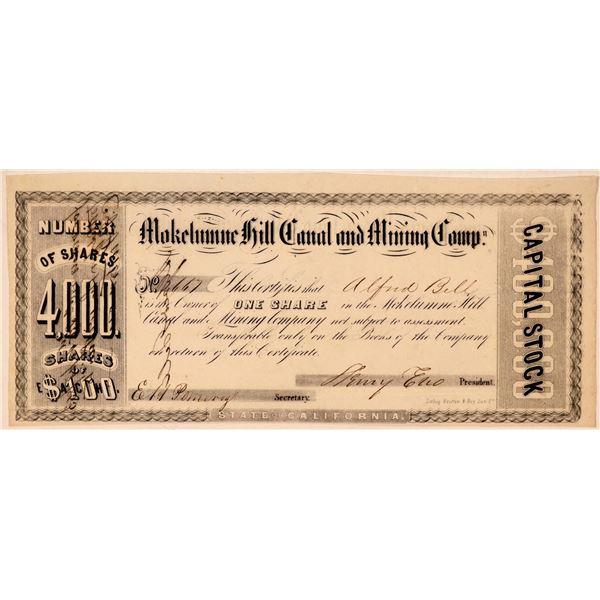 Mokelumne Hill Canal & Mining Company Stock Certificate  [107799]