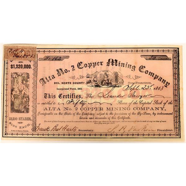 Alta No. 2 Copper Mining Company Stock with Bret Harte autograph!   [130540]