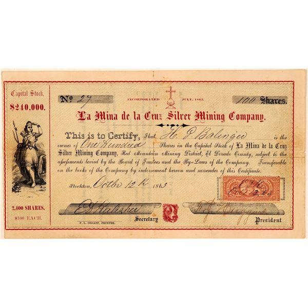 La Mina de la Cruz Silver Mining Company Stock Certificate  [107797]