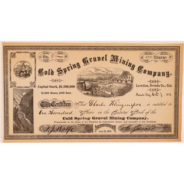Cold Spring Gravel Mining Company Stock Certificate  [107716]