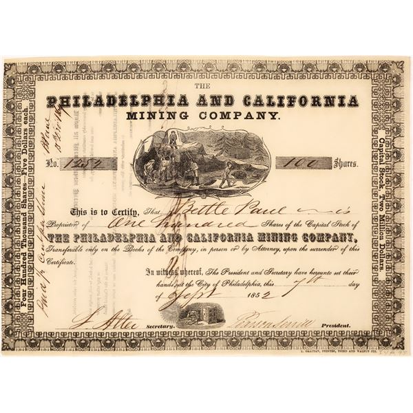 Philadelphia & California Mine Co. Stock Certificate  [128108]