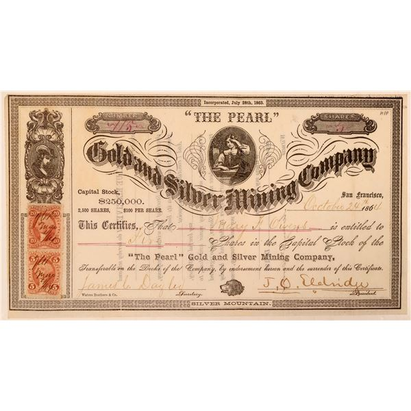 """""""The Pearl"""" Gold & Silver Mining Co. Stock Certificate  [107722]"""