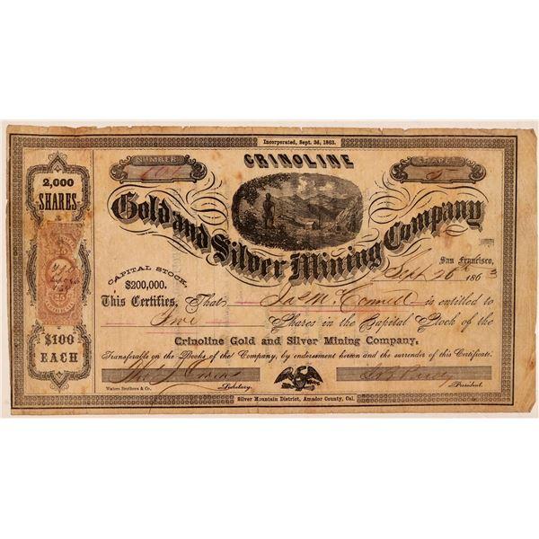 Crinoline Gold & Silver Mining Company Stock Certificate  [107710]