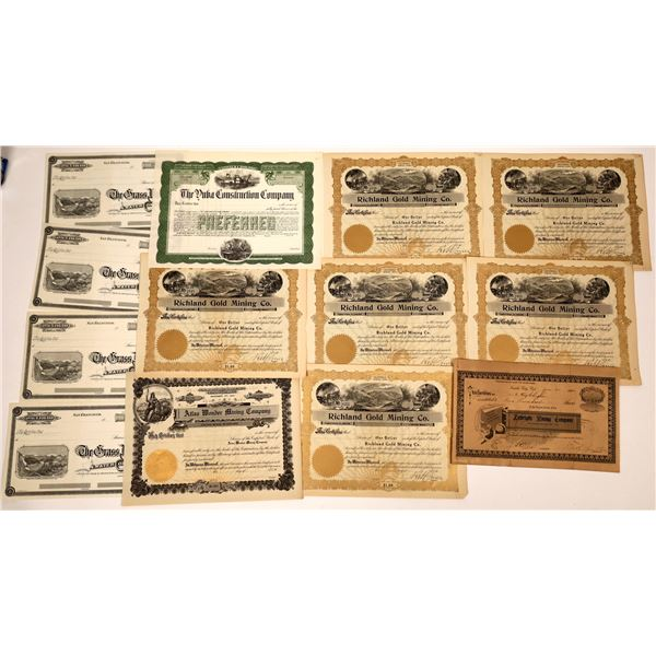 Mining and Water Company Stock Certificate Collection  [138504]