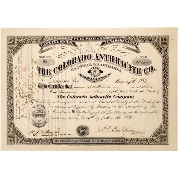 Colorado Anthracite Company Stock Certificate  [128104]