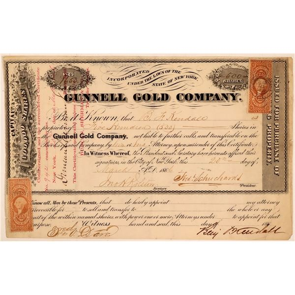 Gunnell Gold Company Stock Certificate  [107800]