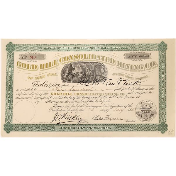 Gold Hill Consolidated Mine Stock Certificate  [128103]
