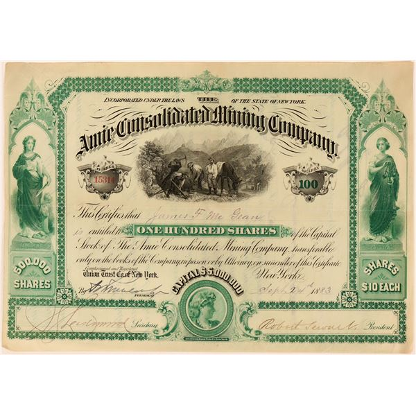 Amie Consolidated Mining Co Stock, Leadville, 1883  [118607]