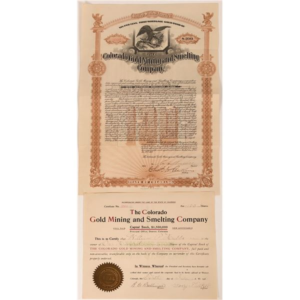 Colorado Gold Mining & Smelting Co Stock Certificate & Gold Bond (2)  [118596]
